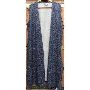 LulaRoe Duster Vest L Blue Pattern